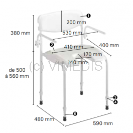 Chaise de douche Invacare Alizé H2480/1