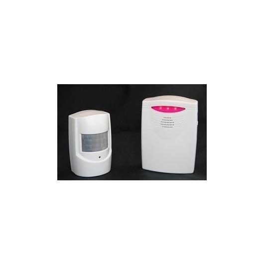 Détecteur de présence avec signal sonore (alarme/carillon) et visuel (flash)